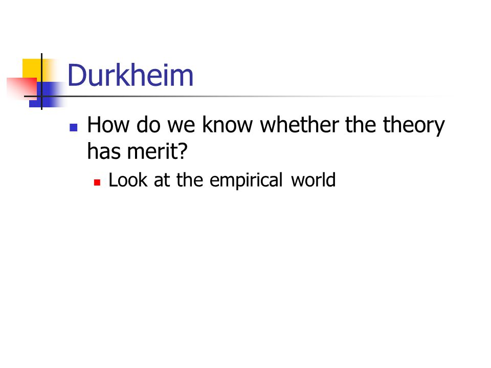 Durkheim How do we know whether the theory has merit