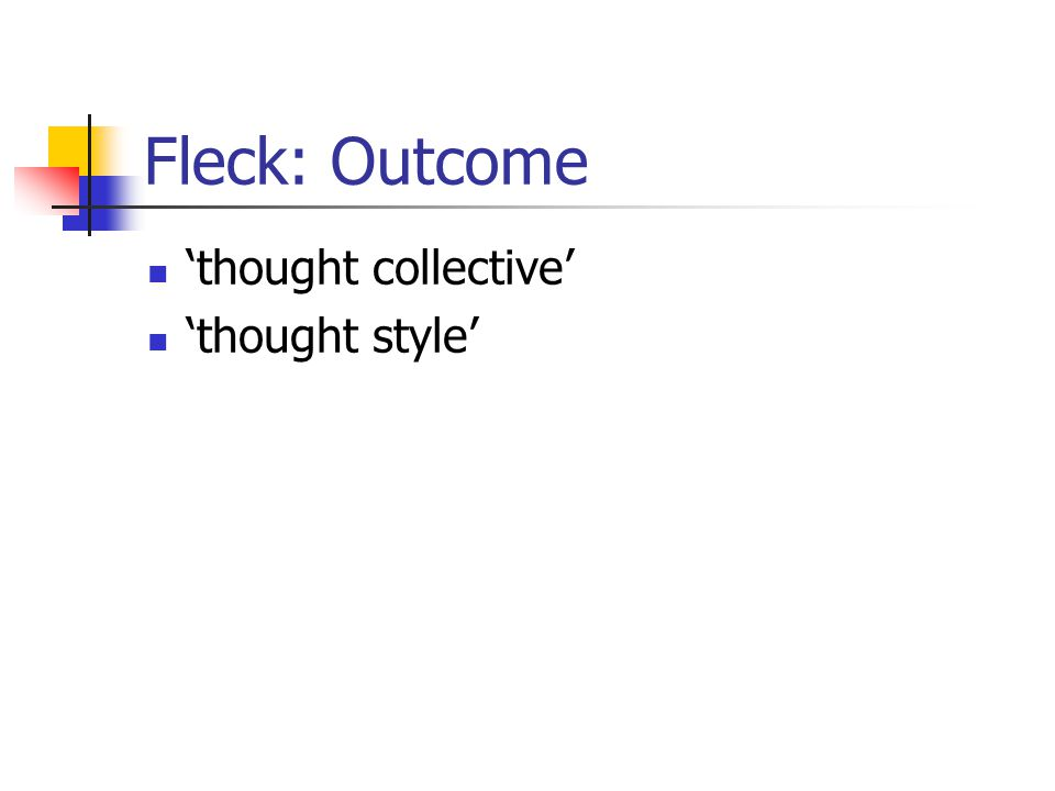 Fleck: Outcome 'thought collective' 'thought style'