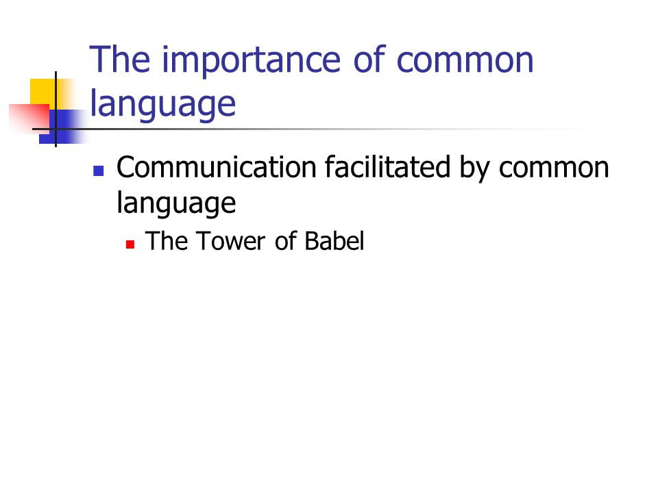 The importance of common language