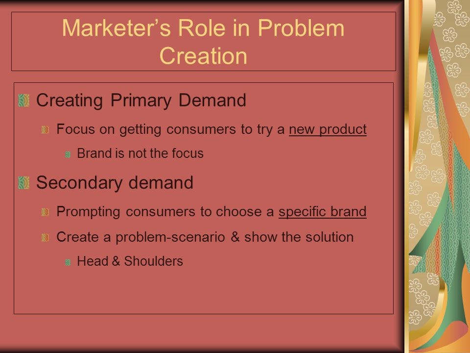 Marketer's Role in Problem Creation
