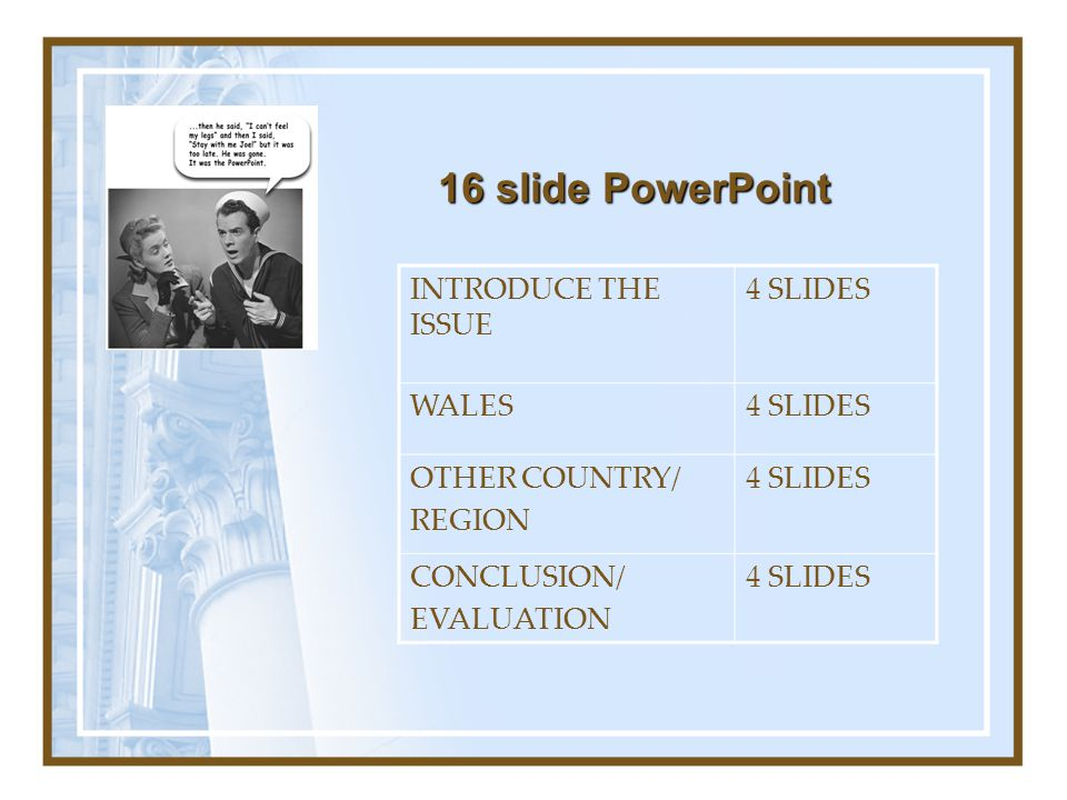 16 slide PowerPoint INTRODUCE THE ISSUE 4 SLIDES WALES OTHER COUNTRY/