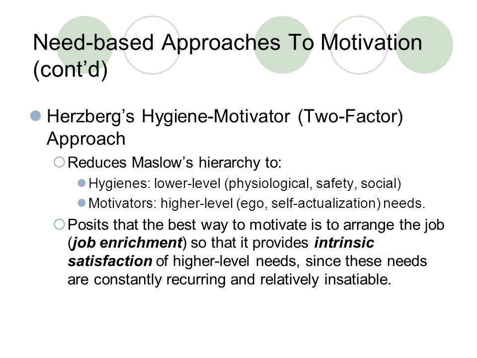 Need-based Approaches To Motivation (cont'd)