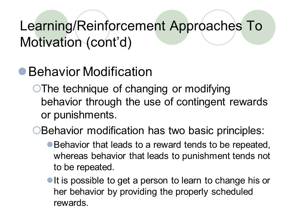 Learning/Reinforcement Approaches To Motivation (cont'd)