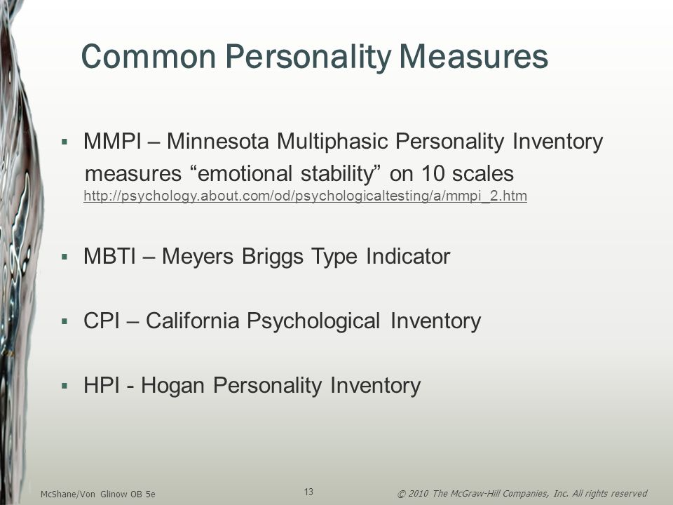 Common Personality Measures