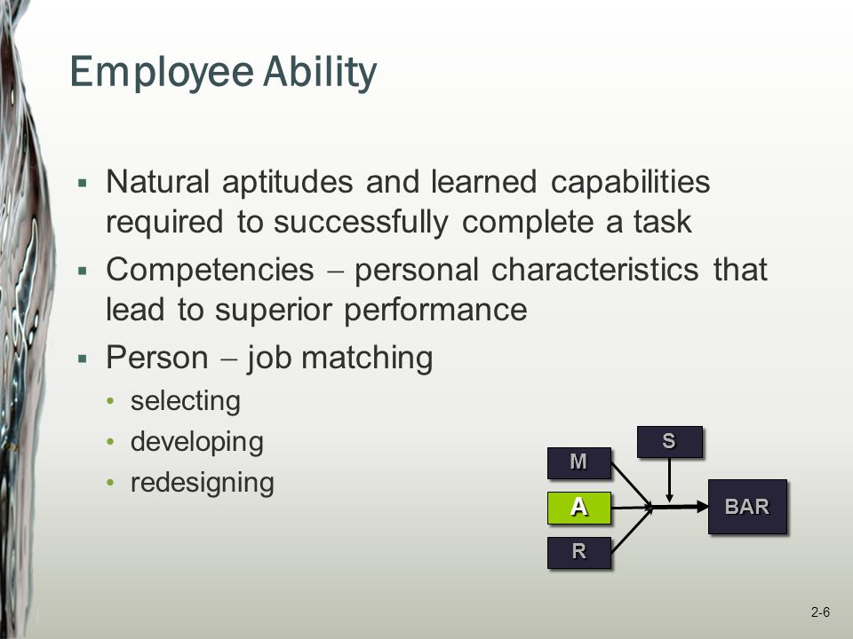Employee Ability Natural aptitudes and learned capabilities required to successfully complete a task.