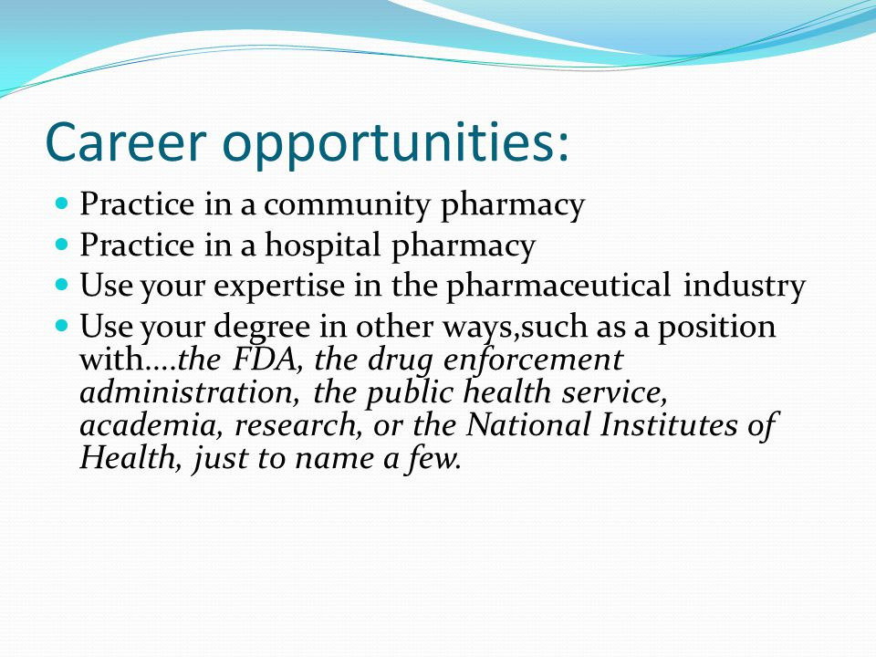 Career opportunities: