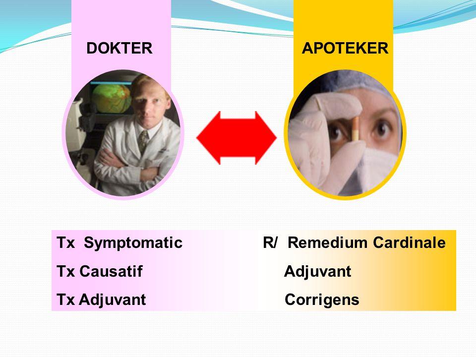 DOKTER APOTEKER Tx Symptomatic Tx Causatif Tx Adjuvant R/ Remedium Cardinale Adjuvant Corrigens