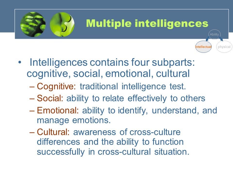 Differences between traditional cognitive intelligence