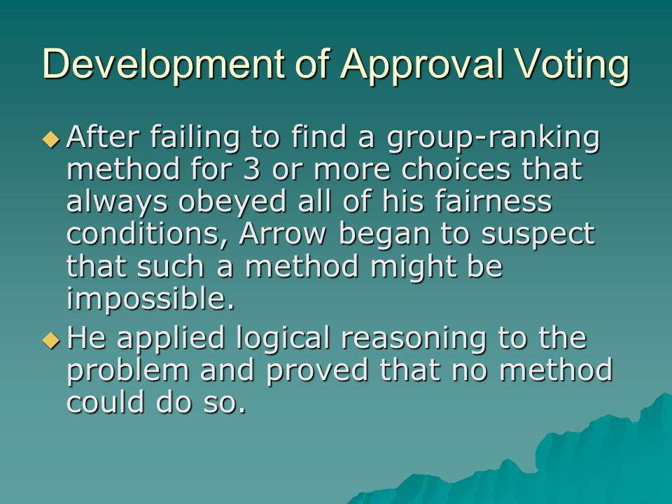 Development of Approval Voting