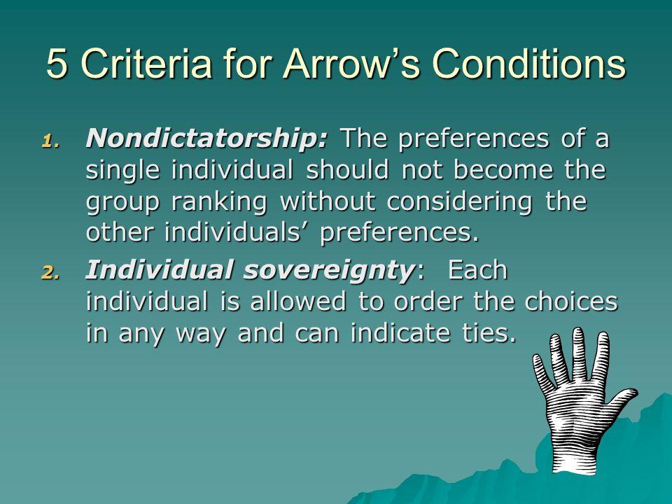 5 Criteria for Arrow's Conditions