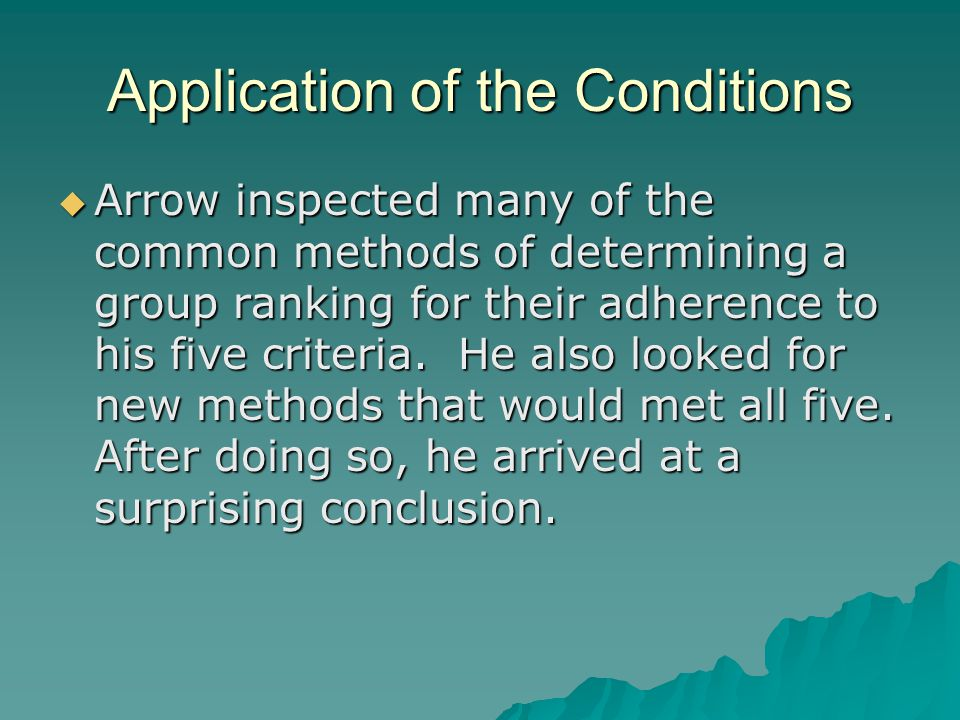 Application of the Conditions