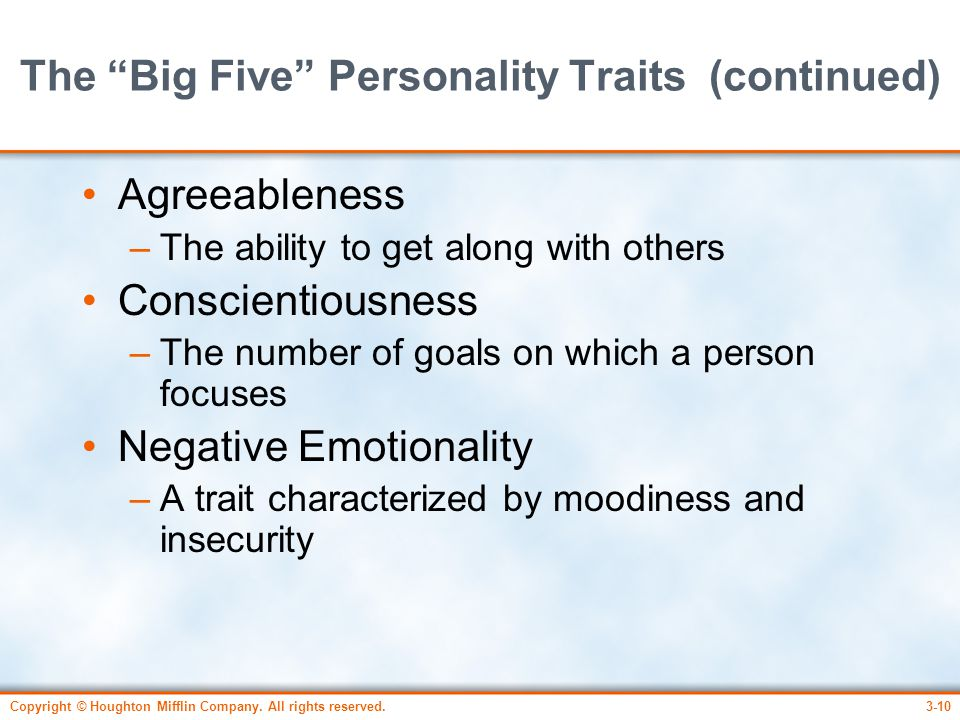 The Big Five Personality Traits (continued)