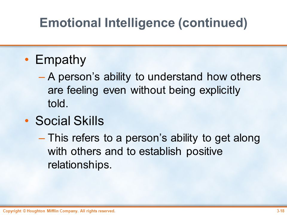 Emotional Intelligence (continued)