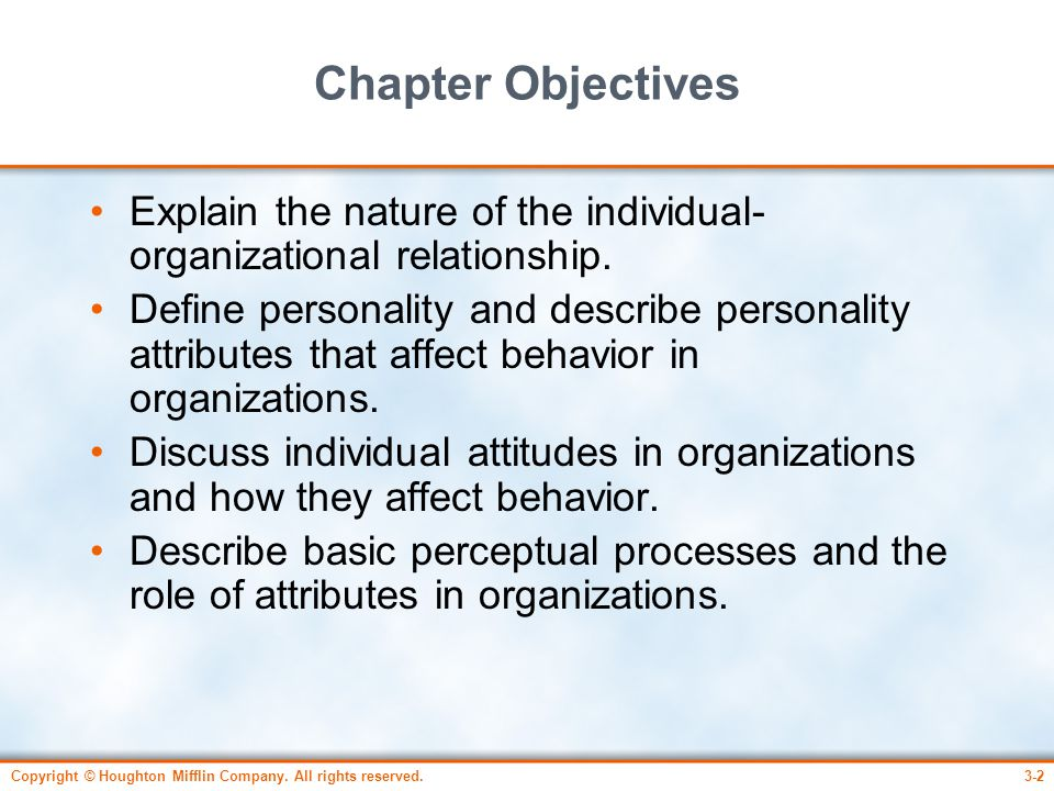Chapter Objectives Explain the nature of the individual-organizational relationship.