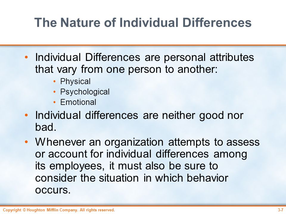 The Nature of Individual Differences