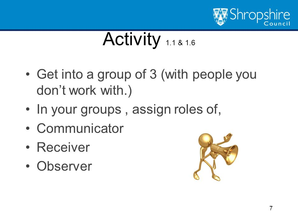 Activity 1.1 & 1.6 Get into a group of 3 (with people you don't work with.) In your groups , assign roles of,