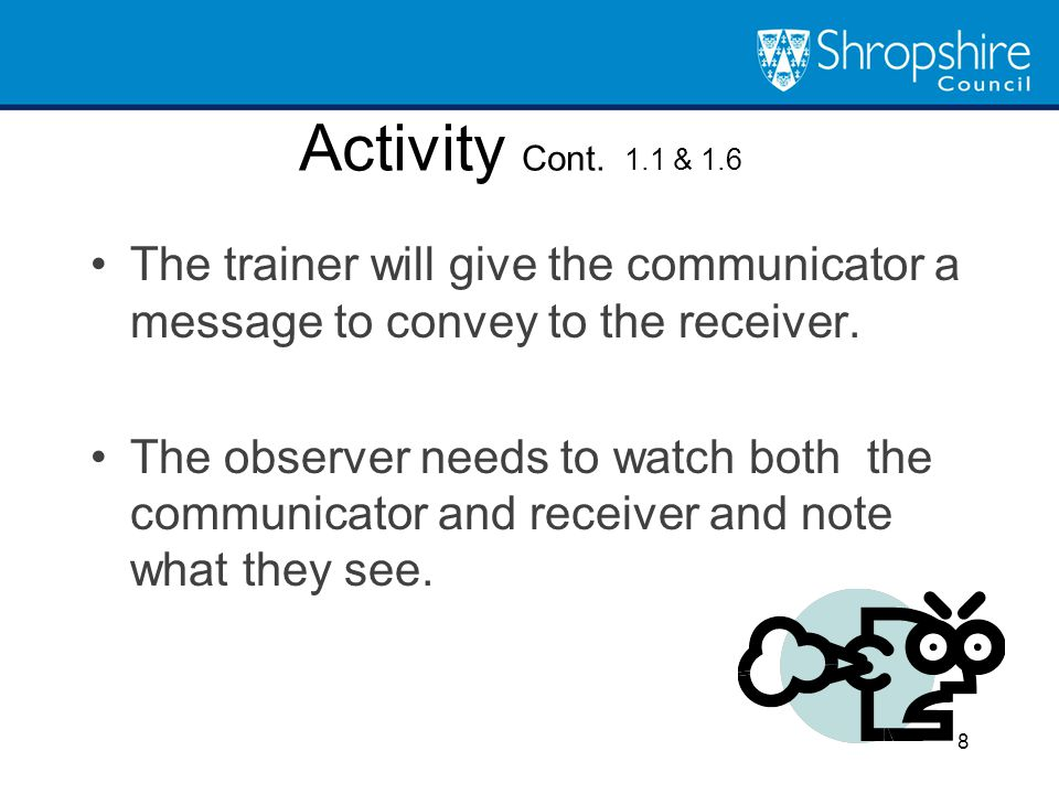Activity Cont. 1.1 & 1.6 The trainer will give the communicator a message to convey to the receiver.