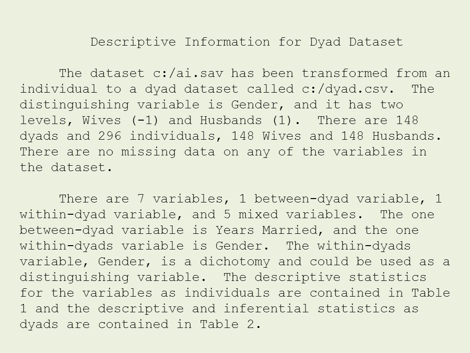 Descriptive Information for Dyad Dataset