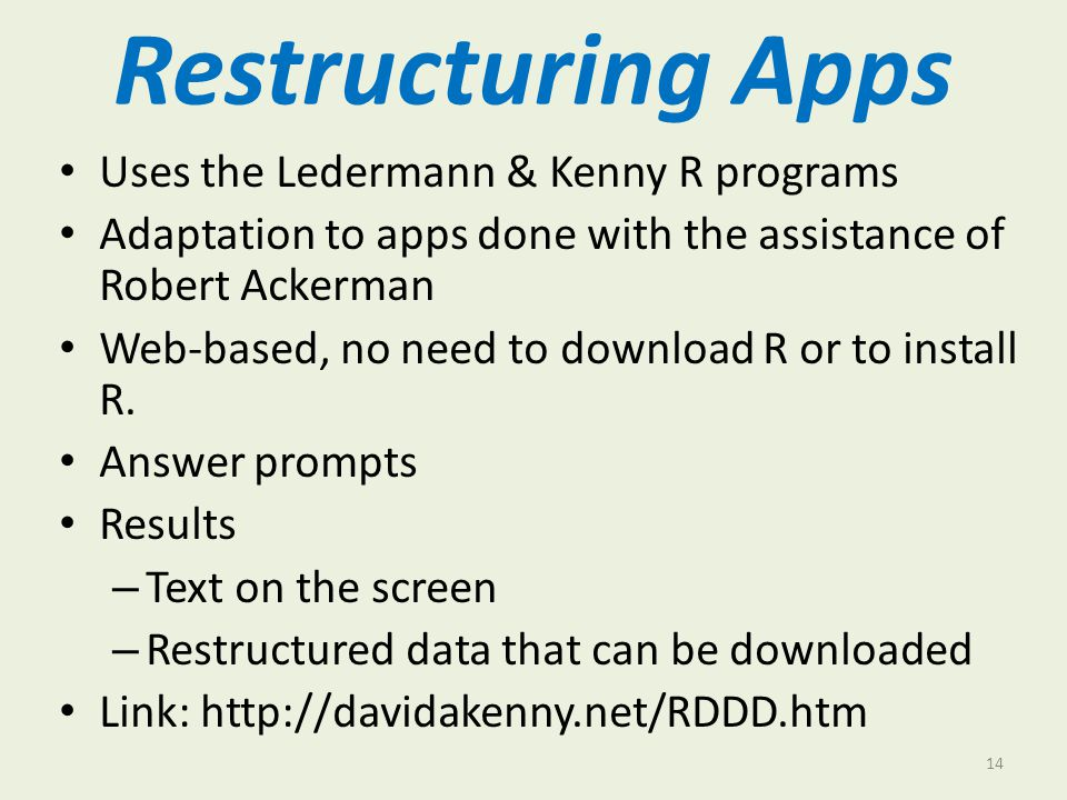 Restructuring Apps Uses the Ledermann & Kenny R programs
