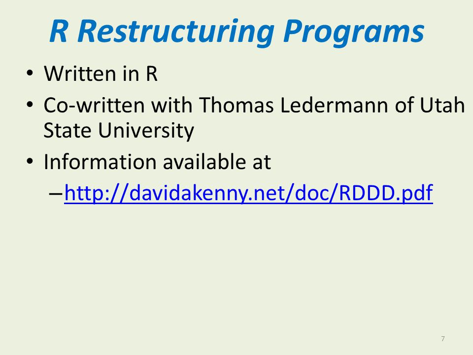 R Restructuring Programs