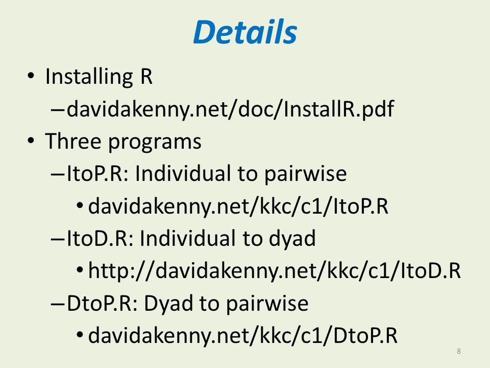 Details Installing R davidakenny.net/doc/InstallR.pdf Three programs