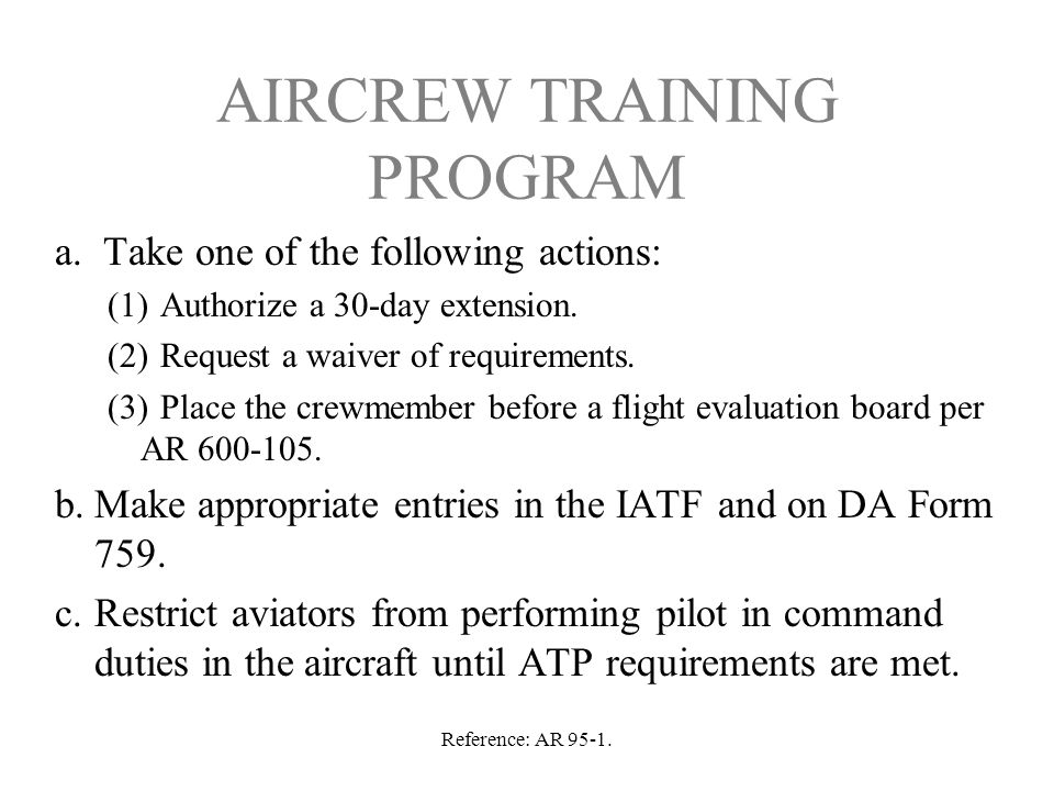 AIRCREW TRAINING PROGRAM