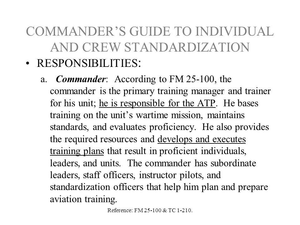 COMMANDER'S GUIDE TO INDIVIDUAL AND CREW STANDARDIZATION