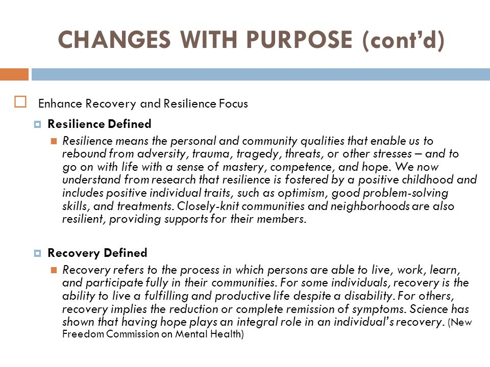 CHANGES WITH PURPOSE (cont'd)