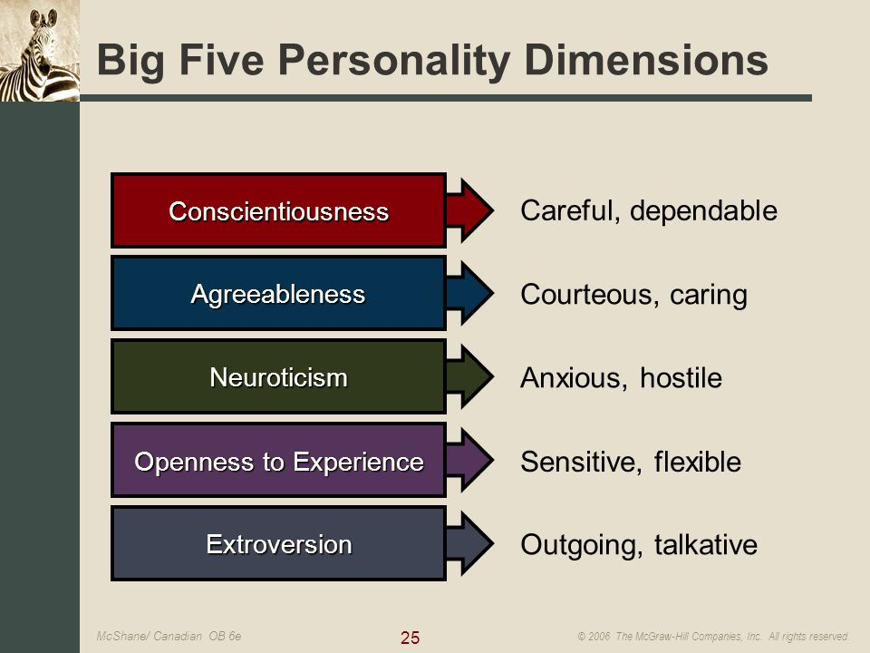 big five personality traits The big five are broad categories of personality traits while there is a significant body of literature supporting this five-factor model of personality, researchers don't always agree on the exact labels for each dimension.