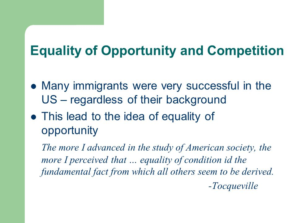 Equality of Opportunity and Competition