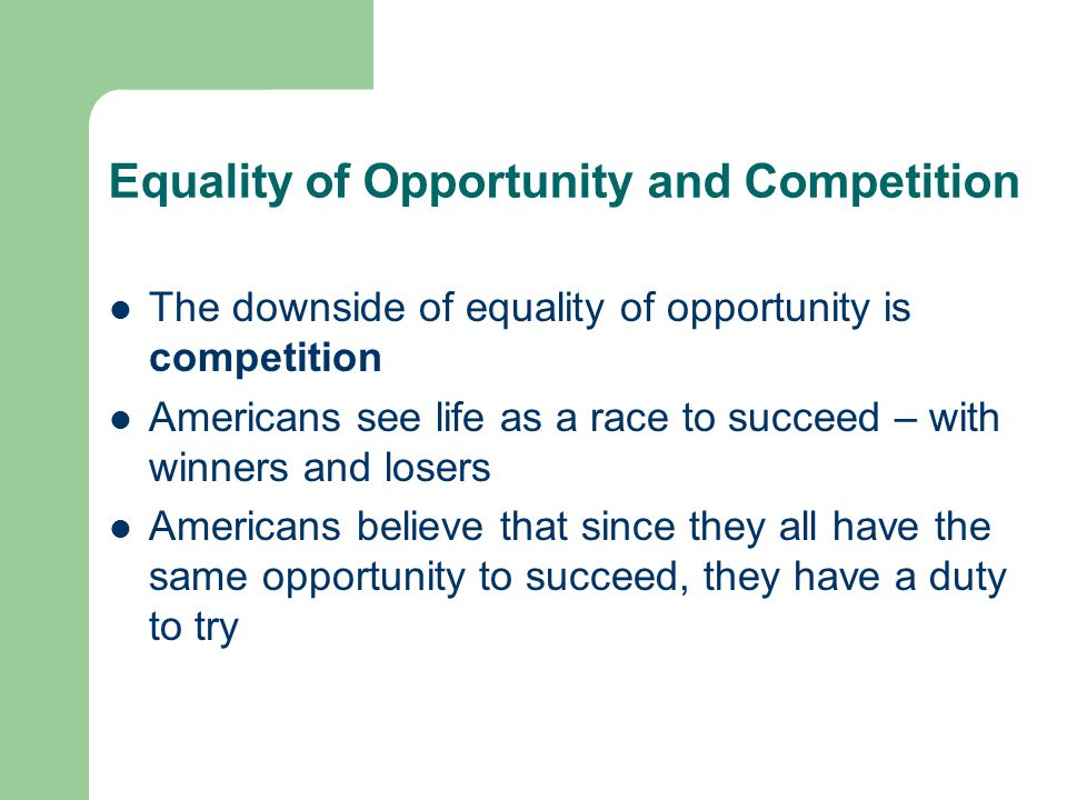 Equality of opportunity in america essay