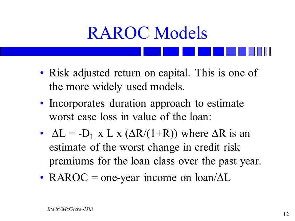 RAROC Models Risk adjusted return on capital. This is one of the more widely used models.