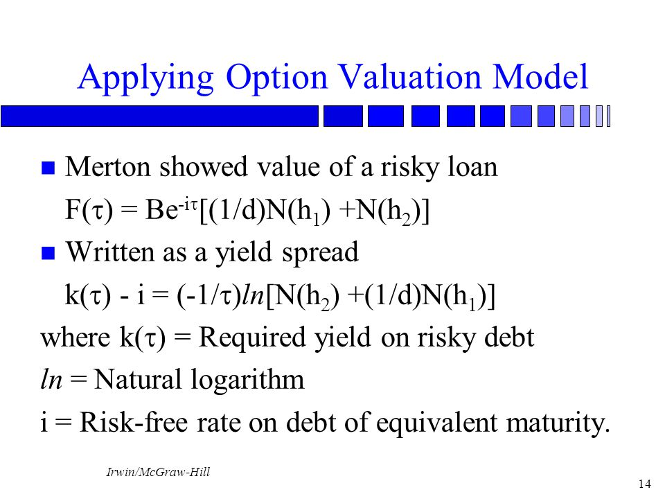 Applying Option Valuation Model