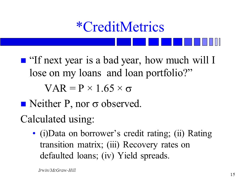 *CreditMetrics If next year is a bad year, how much will I lose on my loans and loan portfolio VAR = P × 1.65 × s.