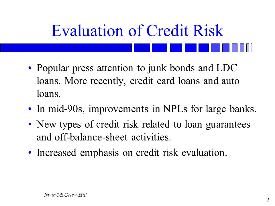Evaluation of Credit Risk