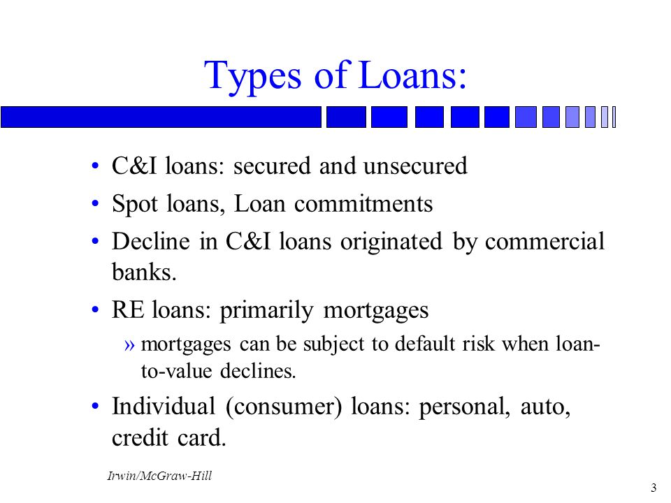 Types of Loans: C&I loans: secured and unsecured