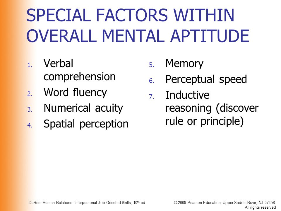 SPECIAL FACTORS WITHIN OVERALL MENTAL APTITUDE