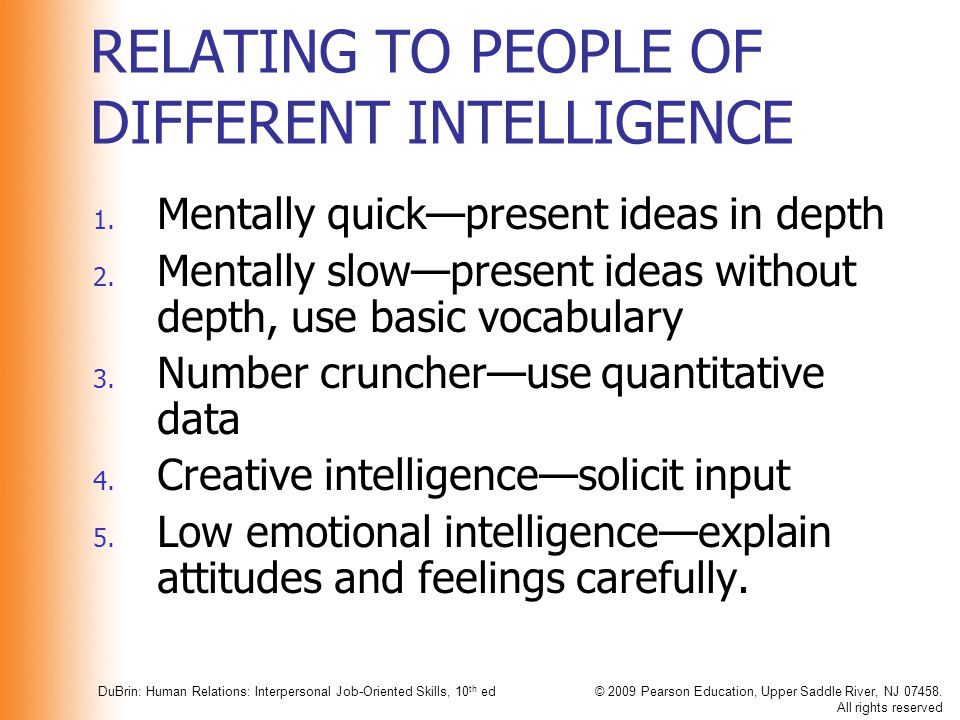 RELATING TO PEOPLE OF DIFFERENT INTELLIGENCE