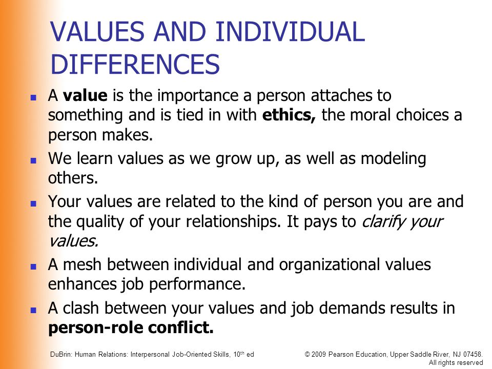 VALUES AND INDIVIDUAL DIFFERENCES