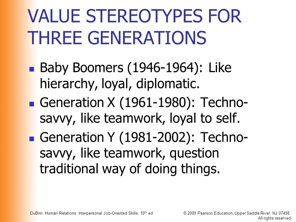 VALUE STEREOTYPES FOR THREE GENERATIONS