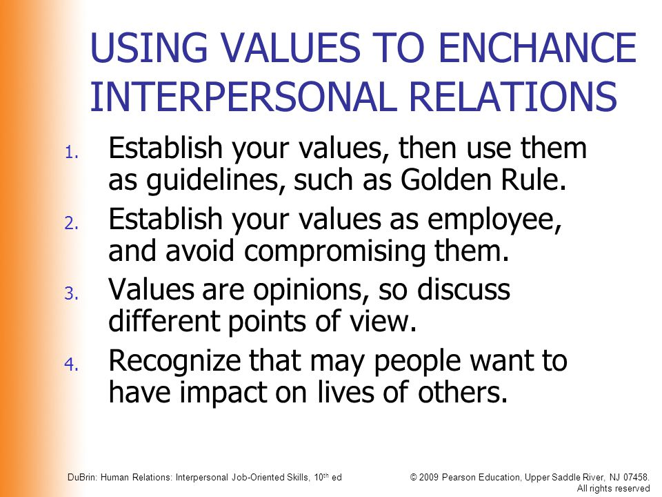 USING VALUES TO ENCHANCE INTERPERSONAL RELATIONS