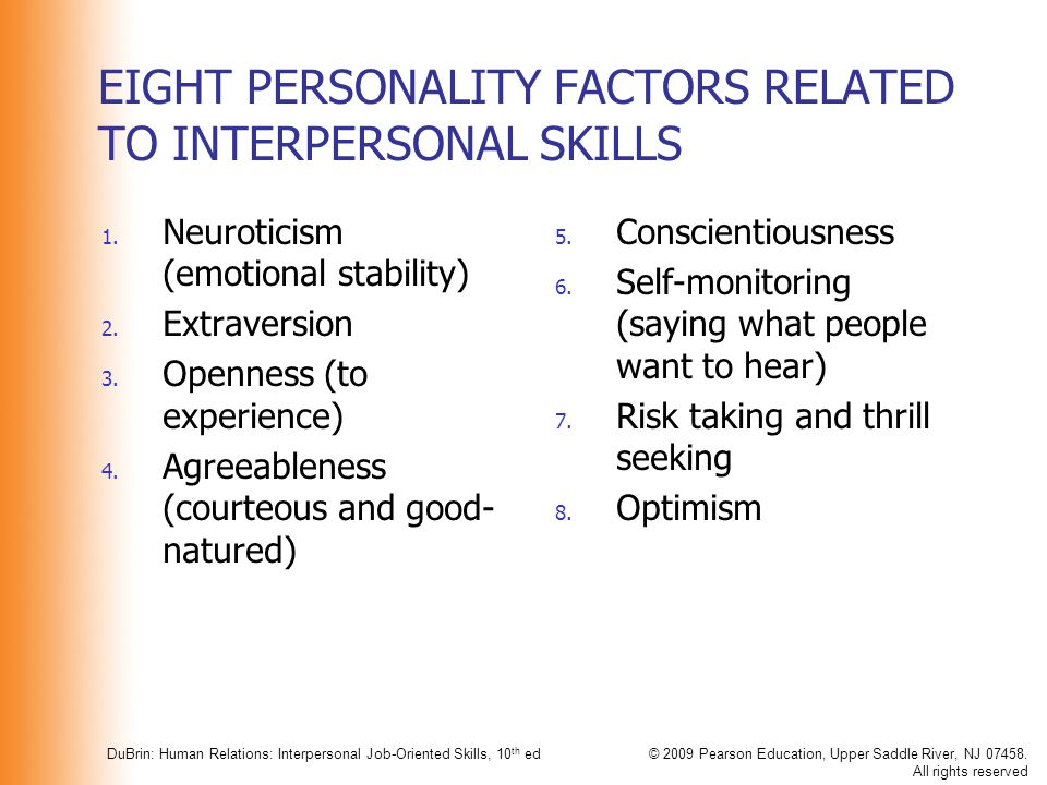 EIGHT PERSONALITY FACTORS RELATED TO INTERPERSONAL SKILLS