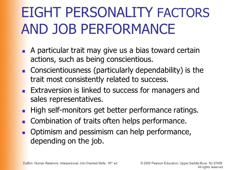 EIGHT PERSONALITY FACTORS AND JOB PERFORMANCE