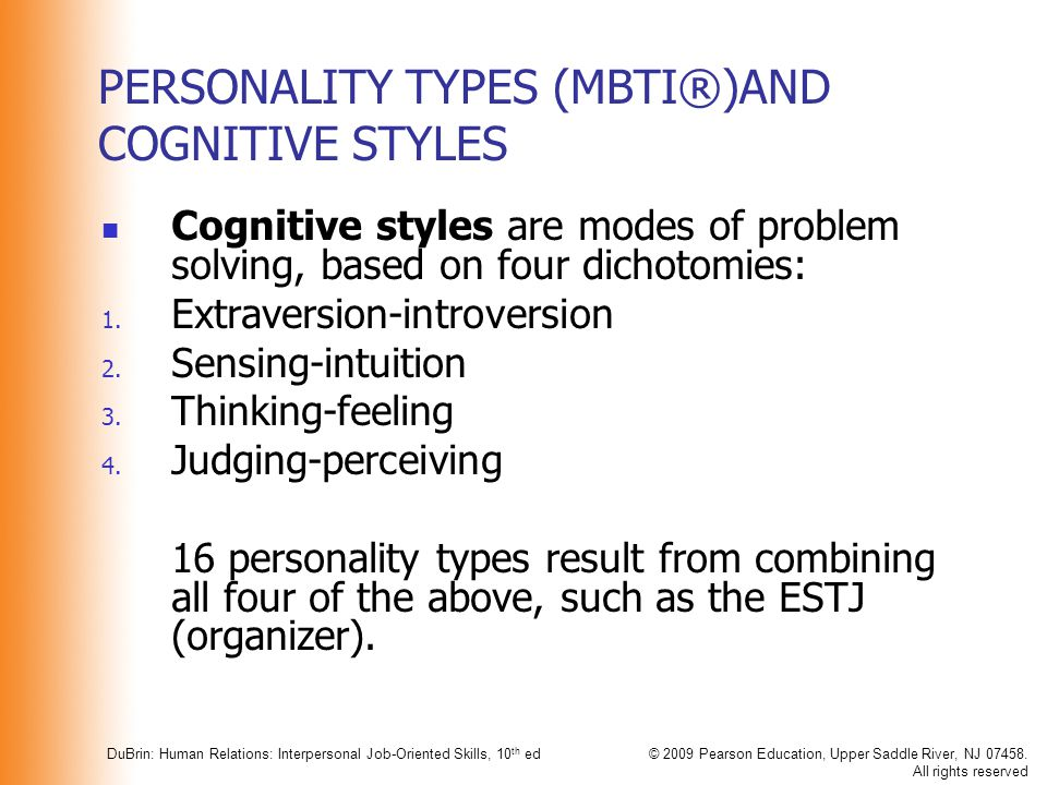 PERSONALITY TYPES (MBTI®)AND COGNITIVE STYLES
