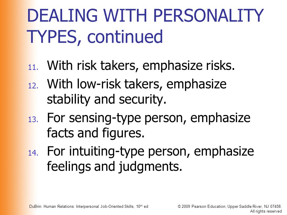 DEALING WITH PERSONALITY TYPES, continued