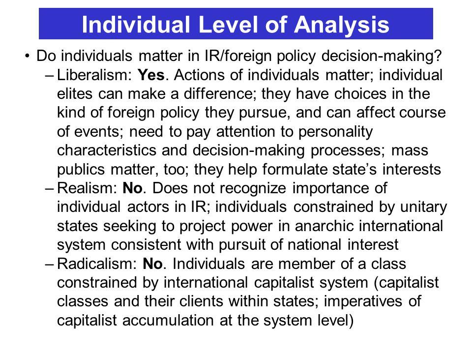 Individual Level of Analysis