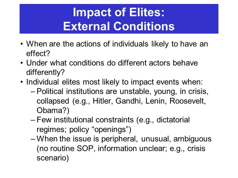 Impact of Elites: External Conditions