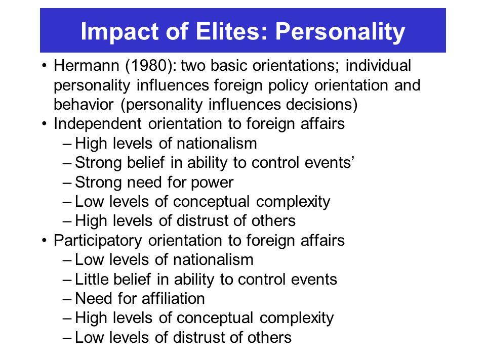 Impact of Elites: Personality