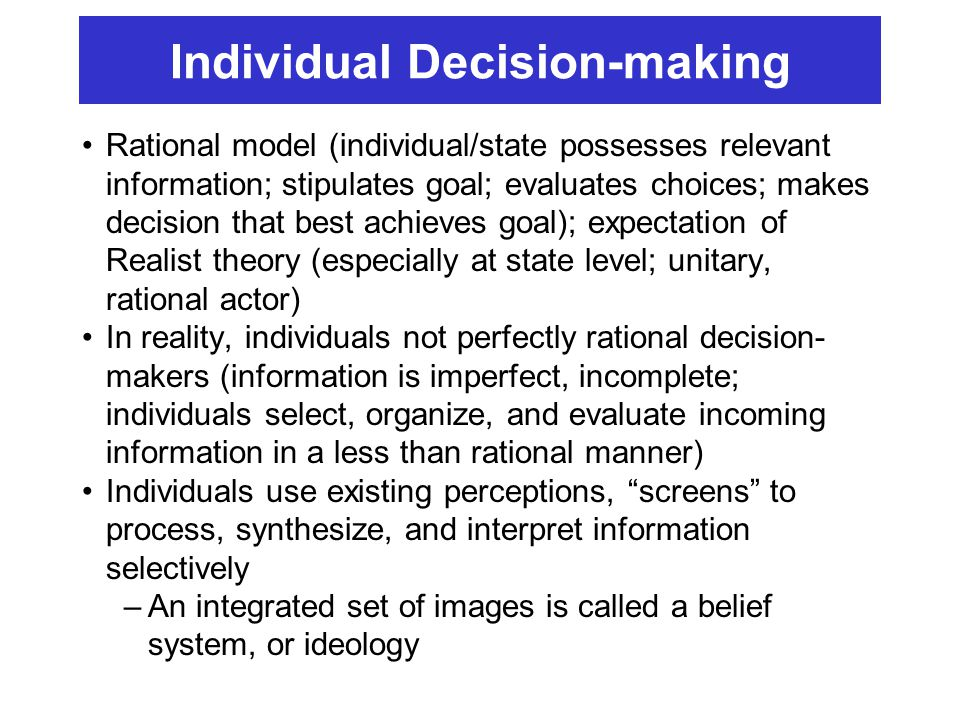 Individual Decision-making