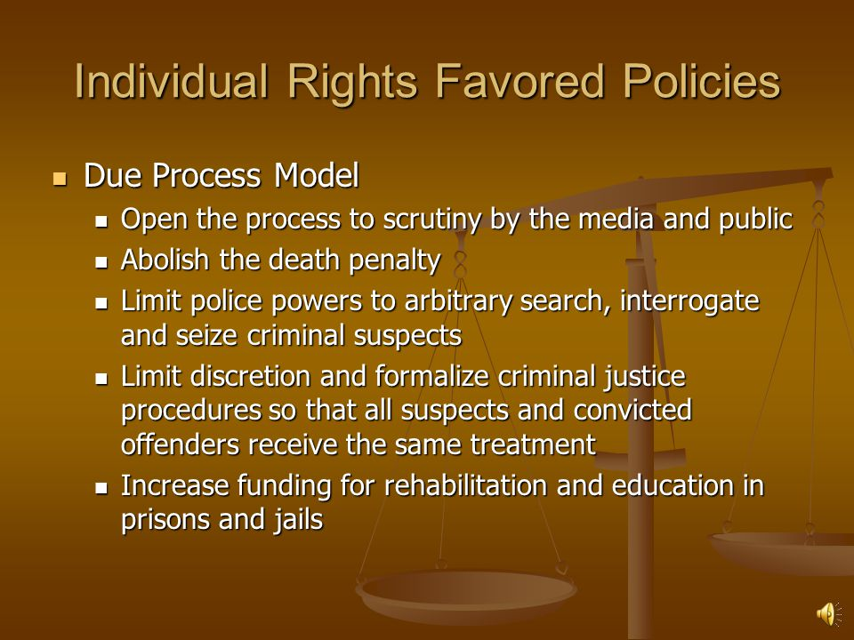 Individual Rights Favored Policies